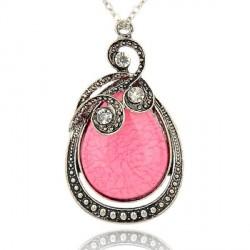 Pendentif breloque en métal Pierre rose à l'anneau, argenté