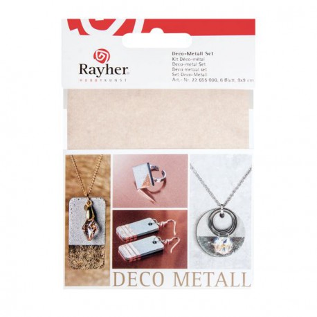Kit 6 Feuilles Déco-métal Cuivre, Or, Argent