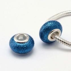 Perle de verre bleu foncé pailletté style Pandora - à l'unité