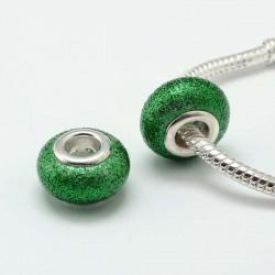 Perle de verre verte pailletté style Pandora - à l'unité