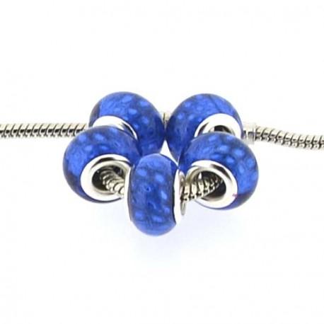 Perle en résine bleu bandes scintillantes style Pandora - à l'unité