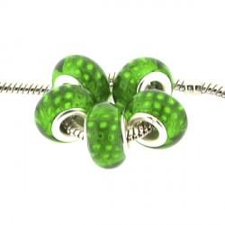 Perle en résine verte Plumes de paon style Pandora - à l'unité