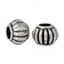 Perle de métal ronde décorée avec traits - 6 x 5 mm