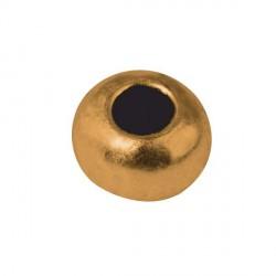 Perle de métal ronde dorée - 6 mm