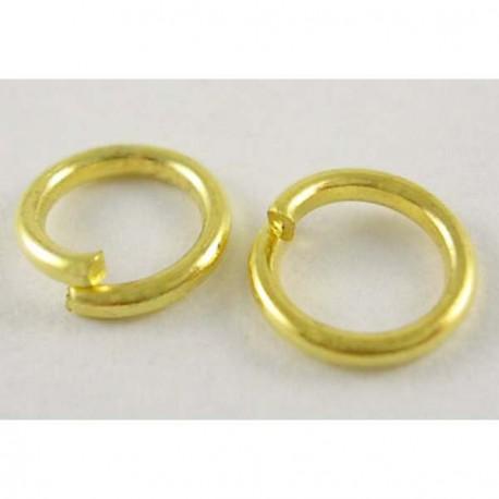 Anneau brisé rond, 10 mm diamètre, doré x10