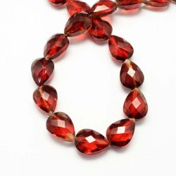 Perle de verre Cristal Pampille 18 x 13 mm, rouge