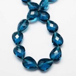 Perle de verre Cristal Pampille 18 x 13 mm, bleue