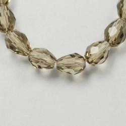 Perle de verre Cristal Goutte 15 x 10 mm, grise