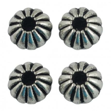 Perle de métal ronde oursin - 8 x 5 mm