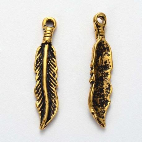 Pendentif breloque en métal Plume fine, dorée