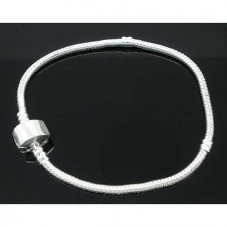 Bracelet style Pandora avec vis fermoir clip magnétique 21 cm argenté clair