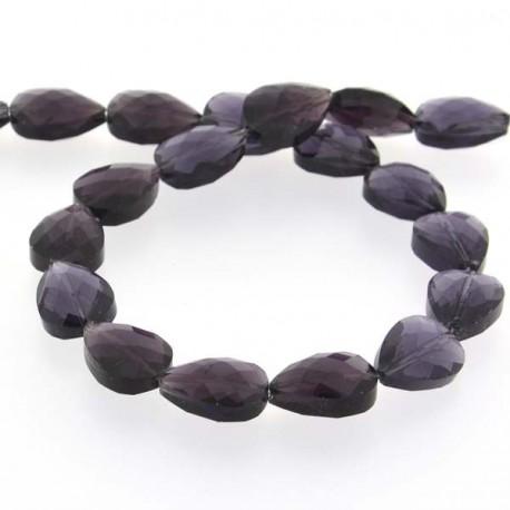 Perle de verre Cristal Pampille 18 x 13 mm, violette