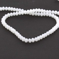 Perle de verre Cristal ronde opaque 6mm, blanc