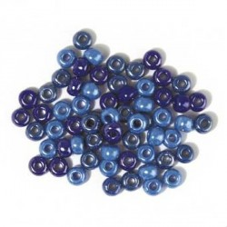 Assortiment bleu en verre opaque, grand trou - 6 mm