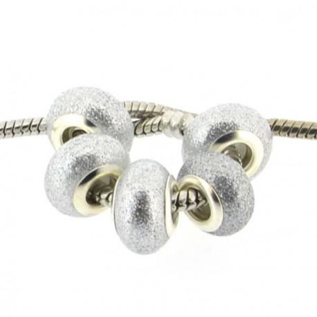 Perle de verre grise pailletée style Pandora - à l'unité