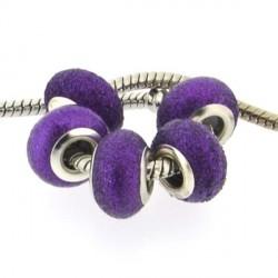 Perle de verre violette paillettée style Pandora - à l'unité