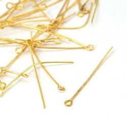 100x Chevilles à remailler, 40 mm dorée, tordues