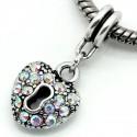 Charm Coeur strass blanc avec reflets style Pandora - à l'unité