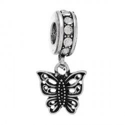 Charm Papillon strass blanc style Pandora - à l'unité