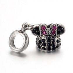 Charm Chapeau de Minnie strass noir style Pandora - à l'unité