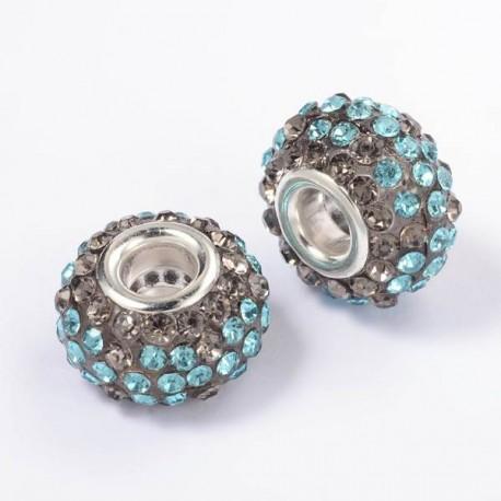 Métal Shamballah turquoise et grise style Pandora - à l'unité