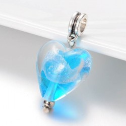 Charm pendentif de verre Coeur turquoise argent style Pandora - à l'unité