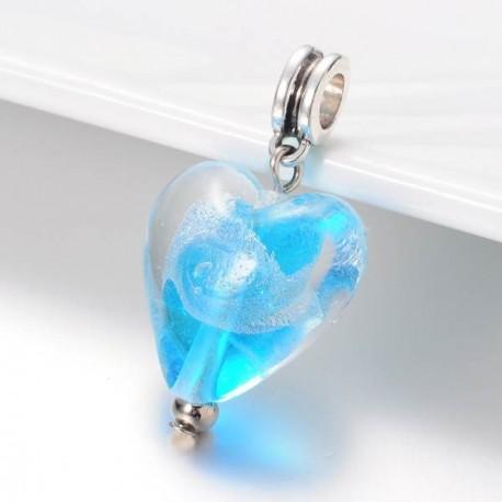 Charm pendentif de verre turquoise argent style Pandora - à l'unité