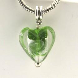 Charm pendentif de verre Coeur vert argent style Pandora - à l'unité