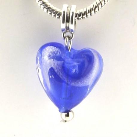 Charm pendentif de verre Coeur bleu argent style Pandora - à l'unité
