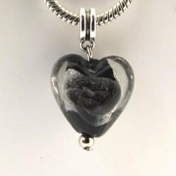 Charm pendentif de verre Coeur noir argent style Pandora - à l'unité