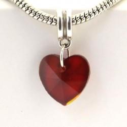Charm pendentif de verre Coeur rouge style Pandora - à l'unité