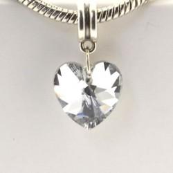Charm pendentif de verre Coeur blanc style Pandora - à l'unité