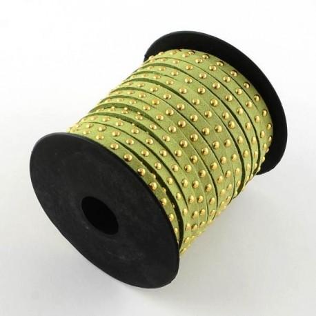 Cordon suédine Vert clair clous dorés 4,5 mm ø