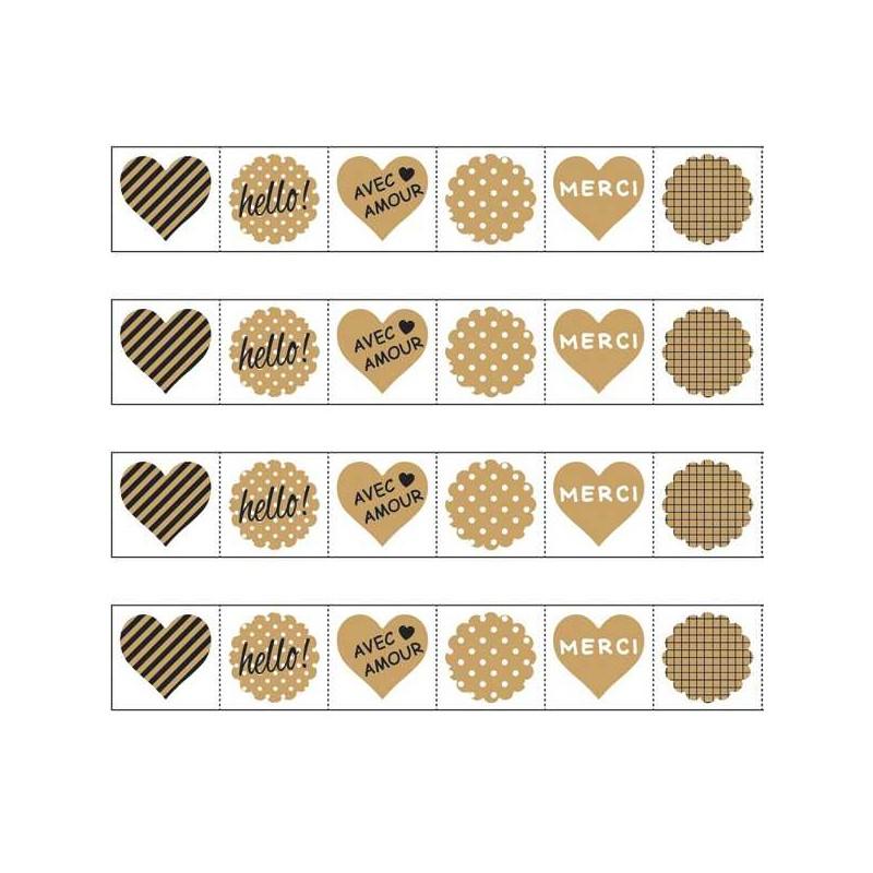 rouleau stickers etiquettes fantaises kraft 159 pi ces. Black Bedroom Furniture Sets. Home Design Ideas