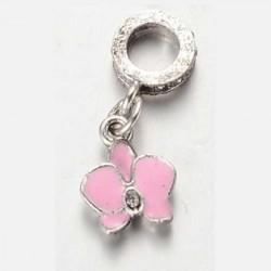 Métal pendentif Fleur Ibiscus émail rose style Pandora - à l'unité