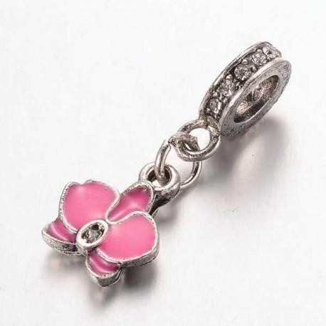 Métal pendentif Fleur Ibiscus émail rose fuchsia style Pandora - à l'unité