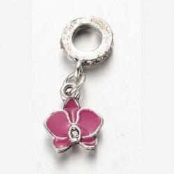 Métal pendentif Fleur Ibiscus émail rose foncé style Pandora - à l'unité