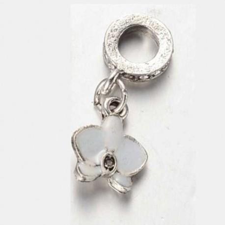 Métal pendentif Fleur Ibiscus émail blanc style Pandora - à l'unité