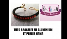 Bracelet en fil Aluminium et perles Hama